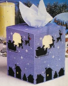 Midnight Flight Christmas Tissue Box Cover Plastic Canvas Pattern | eBay