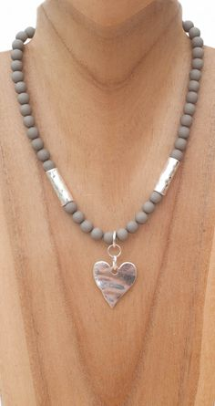 Taupe/grey beaded necklace with heart £23.50