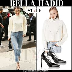 Bella Hadid in white knit cropped sweater, distressed jeans and black lace up pumps