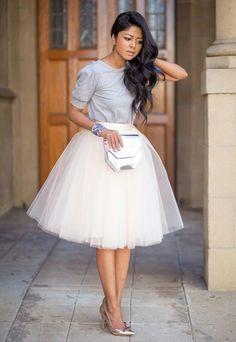 White Plain Draped Grenadine New Fashion Latest Women Puffy Tulle High Waisted…
