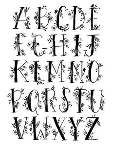 art prints - Floral Alphabet by Shannon Kirsten Lettering Styles Alphabet, Abc Font, Calligraphy Fonts Alphabet, Alphabet Style, Calligraphy Drawing, How To Write Calligraphy, Handwriting Fonts, Pretty Fonts Alphabet, Tattoo Fonts Alphabet