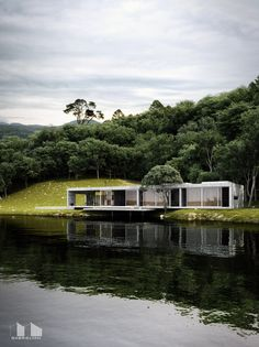 Forest House on Behance Modern Tiny House, Modern Mansion, House Near River, Dream Home Design, House Design, Morden House, Archi Design, Concrete Houses, Eco Architecture