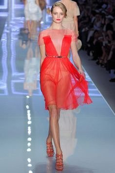Dior red sheer dress