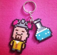 Meth lords have never looked so cute, Walter White and Meth keyring handmade from hama beads.