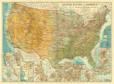 Large wall map of USA from 1923 National Geographic Maps, Usa Travel Map, United States Map, Us Map, Historical Maps, Vintage World Maps, The Unit, America, Canvas Prints