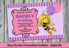 Maya the Bee Personalized Invitation  by LollipopPartyDesigns