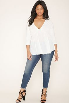 Plus Size Frayed Skinny Jeans | Forever 21 PLUS - 2000182151