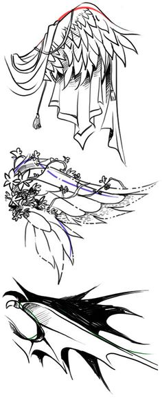 Как рисовать разные крылья