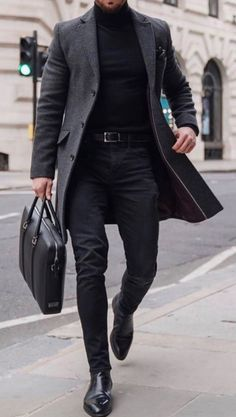 Guys All Black Outfit, Grey Jeans Outfit, Black Turtleneck Outfit, Grey Jeans Men, Grey Trousers, Winter Outfits Men, Stylish Mens Outfits, Smart Male Outfits, Outfit Winter