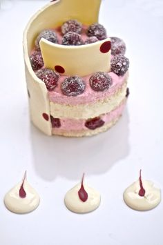 cranberry mousse + white chocolate sponge cake! s00per pretty