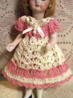 """Dress/Pants Set for 4""""-5"""" All BISQUE Antique Mignonette Miniature Dollhouse Doll"""