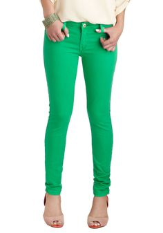 Stems From Style Jeans - Green, Solid, Pockets, Skinny, Cotton