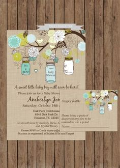 Rustic Boy Baby Shower Invitation and Diaper Raffle Set-(www.partybeautiful.etsy.com)