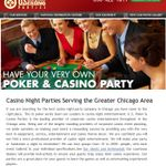 """Visit our site http://www.uspokerseries.com/ for more information on Casino Night Chicago.Casino Night Chicago parties are among the most popular themed parties for adults. They allow for the use of your creative """"juices"""" and for your imagination to run wild! Casino nights can be very elaborate, or quite simple depending on your available resources and budget. It is always fun to pick a theme for your casino night. A popular theme would entail having male guests dress as """"high rollers,""""."""