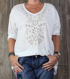 Nice J Jill Love Linen XL size Blouse White Tan Cut Out Floral Womens Lightweight