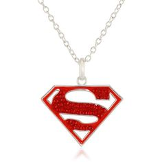 Amazon.com: DC Comics Supergirl Superman Silver-Plated Crystal Pendant... ($17) ❤ liked on Polyvore featuring jewelry, necklaces, silver plated necklace, silver plated jewelry, pendants & necklaces, crystal pendant necklace and silver plating jewelry