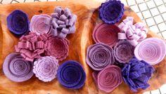 Purple Felt Flowers-Wool Felt Flowers-DIY by TheBeautifulDoor