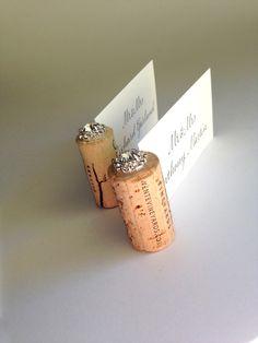 Gemstone Vertical Wine Cork Wedding Place Card Holder ~ we ❤ this! moncheribridals.com #weddingescortcardholder