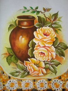 Pano de copa com pintura e croche | Artes em Crochê e Pintura | 1B0ADE - Elo7 One Stroke Painting, Tole Painting, Fabric Painting, Alcohol Ink Crafts, Beautiful Flowers Wallpapers, Country Paintings, Rose Art, Arte Floral, Indian Art
