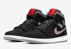 0aca7f9d58f5 The Air Jordan 1 Mid Returns In A Classy Black Red And Grey