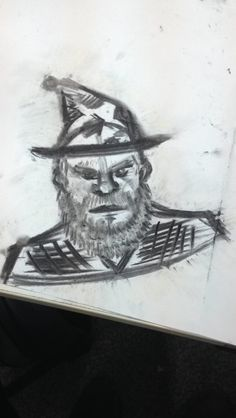 Drawing with coal. Wizard İllustration. #2017