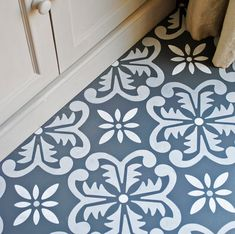 Large Fes Floor Stencil Large Fes Floor Stencil This large tile inspired stencil is perfect for floors. Use it on bare or painted floorboards, laminate flooring, tiles and concrete. It also works. Porch Flooring, Basement Flooring, Laminate Flooring, Flooring Tiles, Painting Tile Floors, Painting Concrete, Stencil Painting, Stenciled Concrete Floor, Painted Concrete Floors