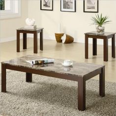 Coaster Furniture - 3 Piece Occasional Table Set w/ Faux Marble Top - 700395 3 Piece Coffee Table Set, Marble Top Coffee Table, Coffee And End Tables, End Table Sets, Side Tables, Sofa Furniture, Living Room Furniture, Furniture Sets, Furniture Stores