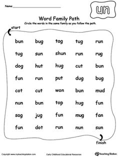 *FREE* UN Word Family Path Worksheet. Topics: Phonics, Word Families, and Reading.