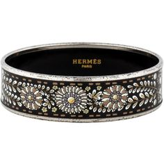 Hermes Wide Enamel Bracelet ($395) ❤ liked on Polyvore featuring jewelry, bracelets, hermès, wide bangle, enamel jewelry, floral jewelry and hermes bangle