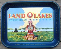 icollect247.com Online Vintage Antiques and Collectables - Land O Lakes Sweet Cream Butter Tray 1970s Advertising-Signs
