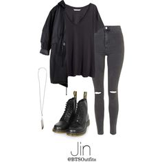 I NEED U Inspired: Jin by btsoutfits on Polyvore featuring H&M, Topshop, Dr. Martens and Ann Demeulemeester