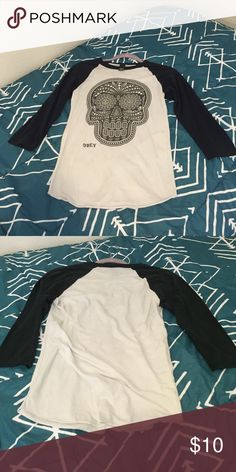 Obey baseball tee Worn a couple times Obey Tops Tees - Long Sleeve