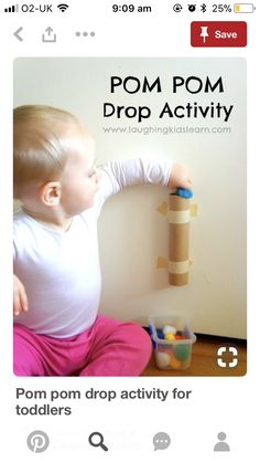 Spielideen Babys Monate Pom pom drop activity for toddlers is great for developing fine motor skills and an understanding of cause and effect. Simple and fun. Use toilet paper tubes. Toddler Play, Toddler Learning, Baby Play, Toddler Crafts, Toddler Games, Baby Learning Activities, Motor Activities, Kids Crafts, Baby Kids