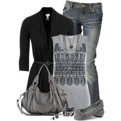 """""""Grey Flats"""" by immacherry on Polyvore"""