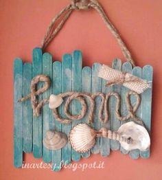 Handmade Home Decor Kids Crafts, Diy Home Crafts, Decor Crafts, Kids Diy, Seashell Crafts, Beach Crafts, Summer Crafts, Diy Para A Casa, Diy Popsicle Stick Crafts