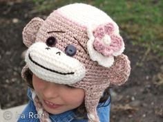 Pink Sock Monkey Hat with Crocheted Flower for Girl  by IraRott, $35.00