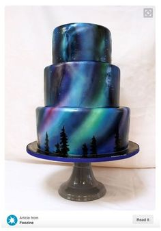 Airbrush cake by Northern Lights - Cake Decorating Cupcake Ideen Gorgeous Cakes, Pretty Cakes, Cute Cakes, Amazing Cakes, Crazy Cakes, Fancy Cakes, Pink Cakes, Food Cakes, Cupcake Cakes