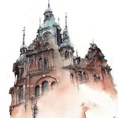 With fluid washes of watercolor Sunga Park lends gentle fluidity to stony Bangkok, Watercolor Architecture, Architecture Drawings, Urban Sketching, Korean Artist, Ancient Architecture, Watercolor Paintings, Watercolors, Watercolor Artists