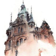 Lors de ses voyages à travers le monde, l'artiste coréenne Sunga Park capture l'architecture des villes dans de magnifiques et vaporeuses aquarelles, se con