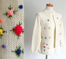 Vintage Cardigan Sweater with Embroidered Floral
