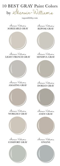 10 Best Gray Paint Colors by Sherwin-Williams — Tag & Tibby Design – rustic home interior Paint Colors For Living Room, Paint Colors For Home, House Colors, Best Bathroom Paint Colors, Kitchen Paint Colors, Bedroom Colors, Paint Colors For Hallway, Gray Wall Colors, Gray Living Room Walls