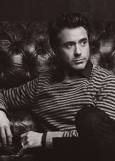 Robert Downey Jr. in black and white
