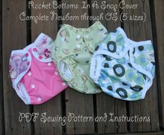 Rocket Bottoms In A Snap Complete NB-OS Cover PDF Sewing Pattern