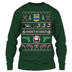 Be the best dressed Police Officer or Law Enforcement fan at your Ugly Christmas Sweater Party! Long Sleeve Tee - Police Version