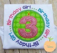 Birthday Candle 3 Circle Saying Applique Design just peachy applique