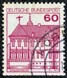 german castle stamps: GERMANY - CIRCA 1977: A stamp printed in Germany from the Strongholds and castles issue shows Rheydt castle, circa 1977.