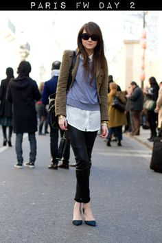 Great outfit: grey sweatshirt, d 'orsay pumps, leather/waxed skinnies, white button down & blazer
