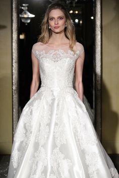 The Oleg Cassini Wedding Dress Collection Fall 2015 #classic #timeless #elegance #elegant  This short sleve A-line gown showcases Oleg Cassini's elegant refinement of classic lines and opulent fabrics.