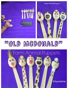 Old McDonald Farm Animal Puppets from wooden picnic spoons!