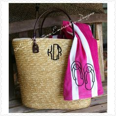#beachtowel #Monogrammed #beachlife Kay Kreations Embroidery Designs  Kaykreations.2012@gmail.com